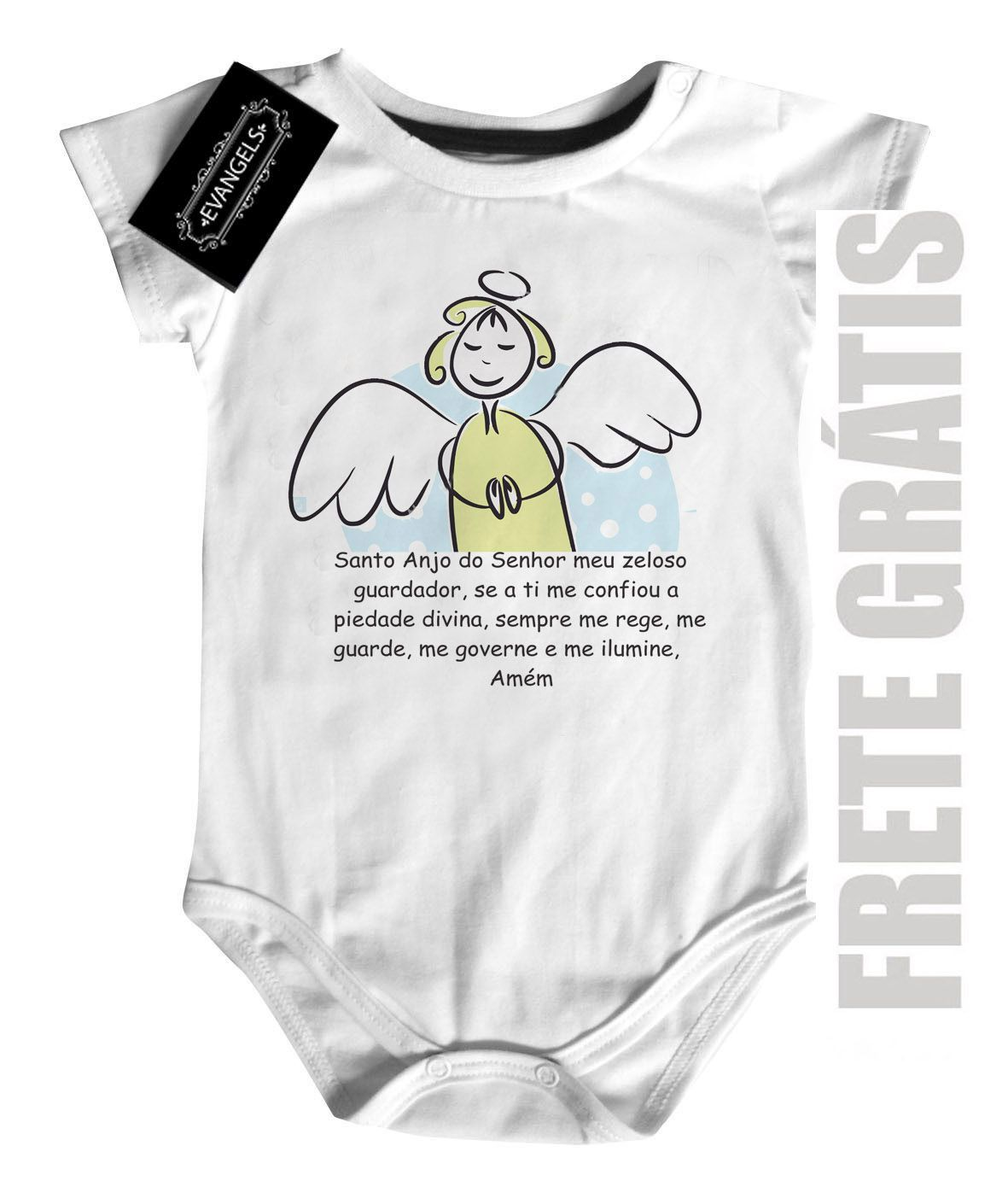 Body Baby  Católico Santo Anjo - white  - Baby Monster - Body Bebe