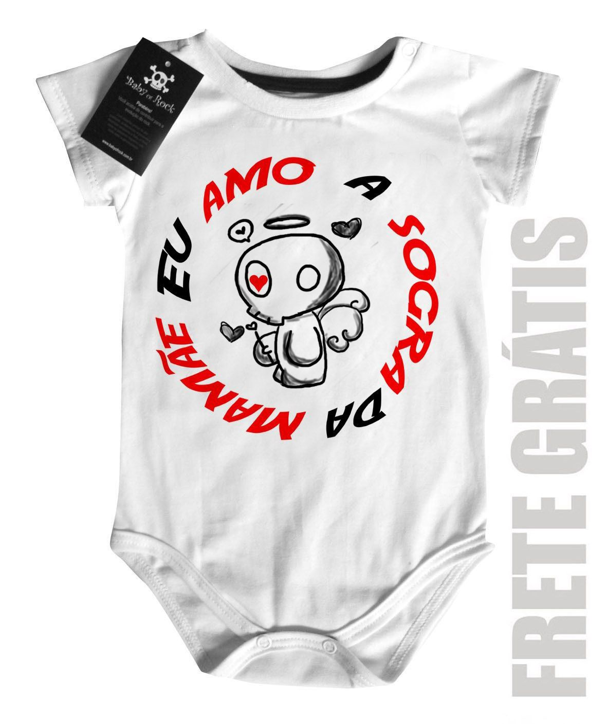 Body Baby Divertido - Amo a sogra da Mamãe- White  - Baby Monster S/A