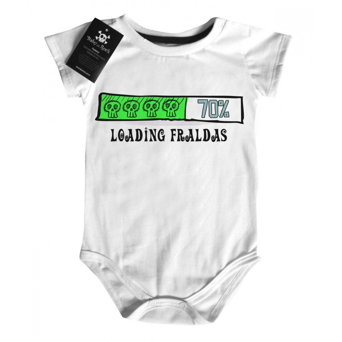 Body Baby Divertido - Carregando Fraldas - White  - Baby Monster S/A