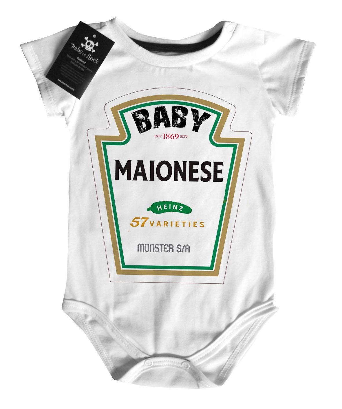 Body Baby Divertido Criativo - Baby Maionese - White  - Baby Monster S/A