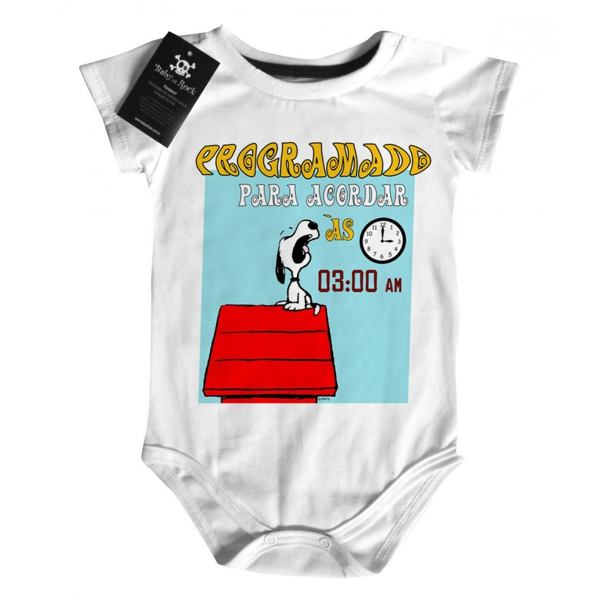Body Baby Geek Nerd - Programado para Acordar às 3 am- White  - Baby Monster S/A