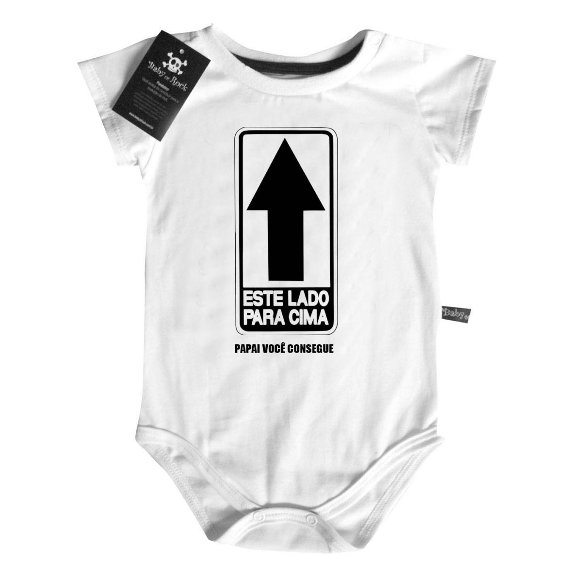 Body Baby DIvertido - Este Lado para Cima - White  - Baby Monster - Body Bebe