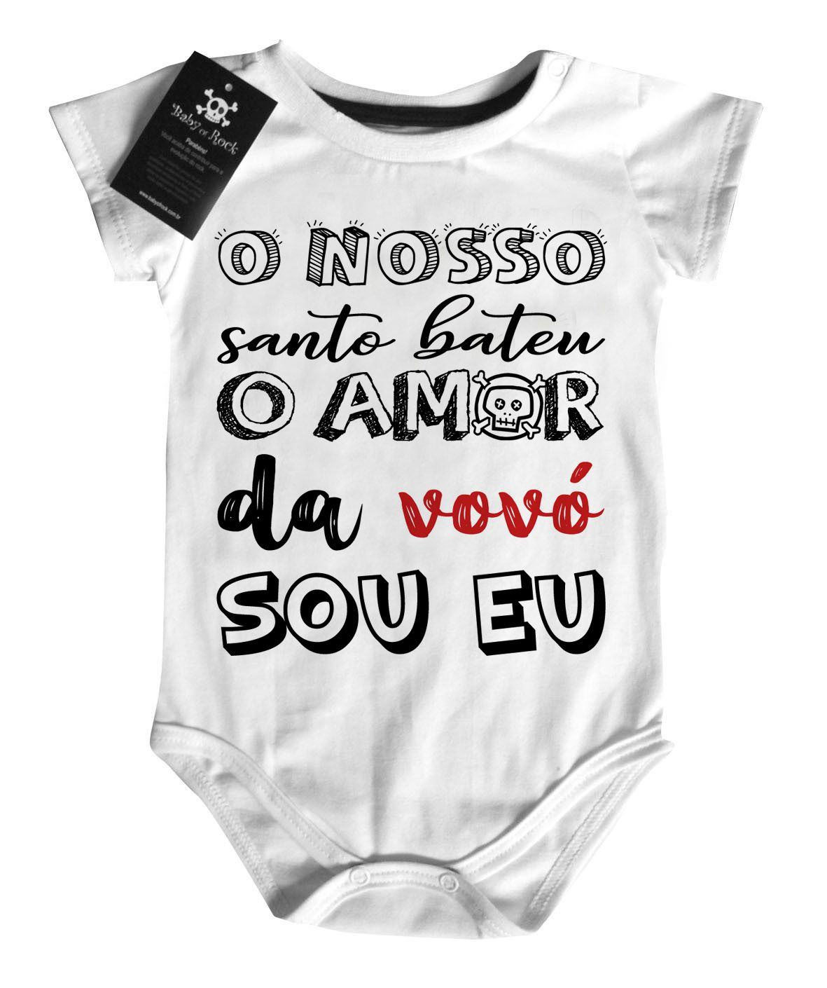 Body Baby Rock - Amor da Vovó - White  - Baby Monster S/A