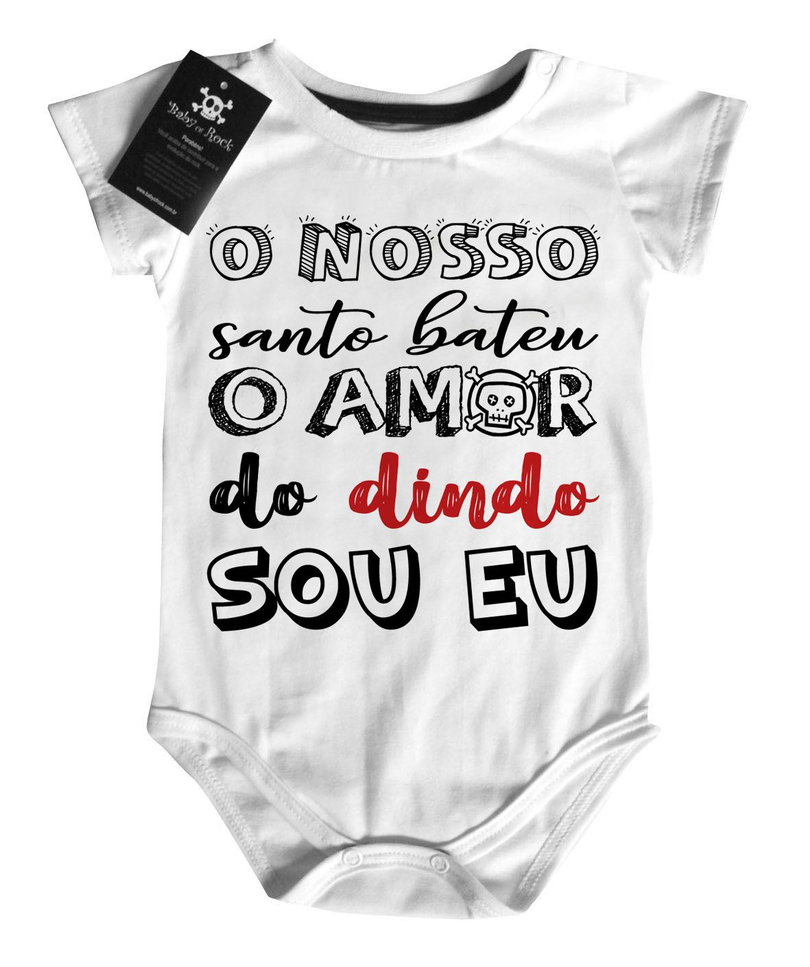Body Baby Rock - Amor do Dindo - White  - Baby Monster - Body Bebe