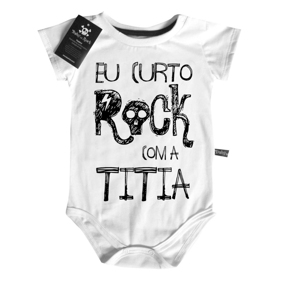 Body Baby Rock - Eu curto Rock com a Titia  - White  - Baby Monster S/A
