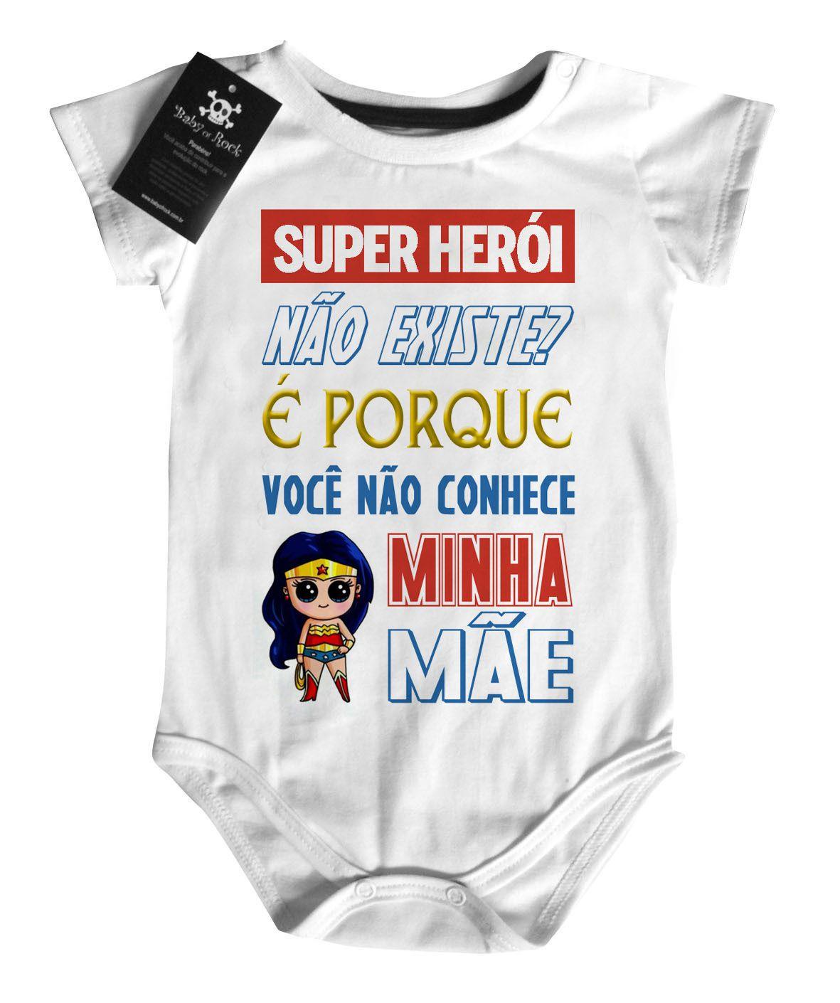 Body Baby Rock - Herói não existe? Mamãe - White  - Baby Monster S/A