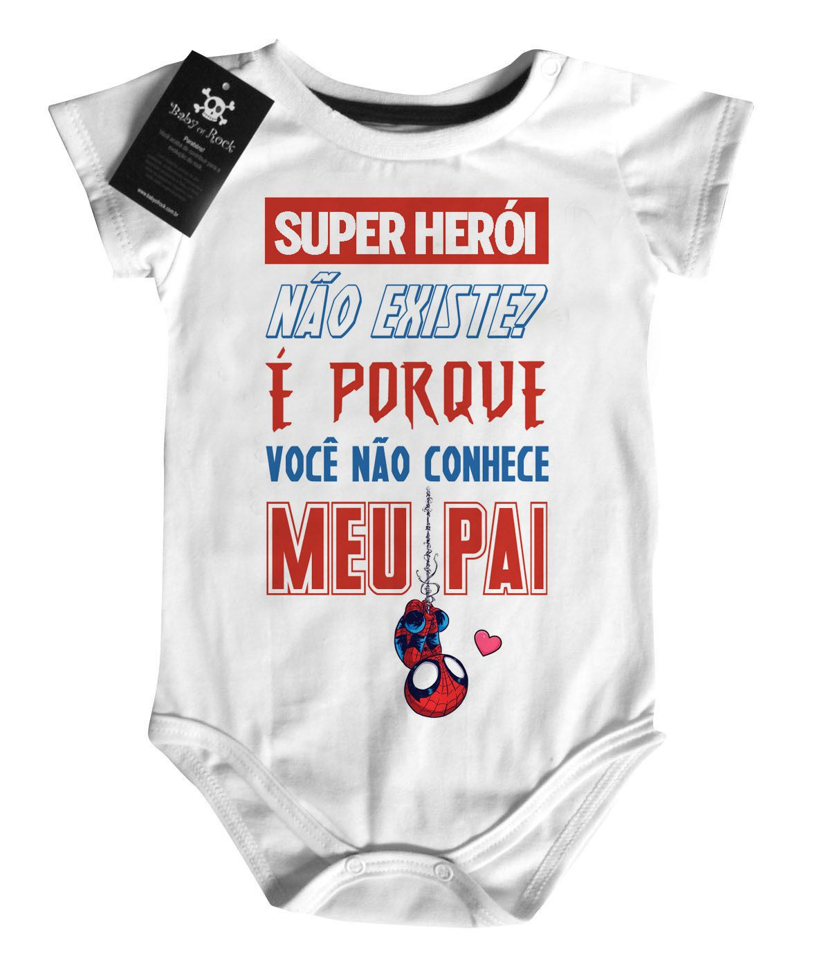 Body Baby Rock - Herói não existe? Papai - White  - Baby Monster S/A