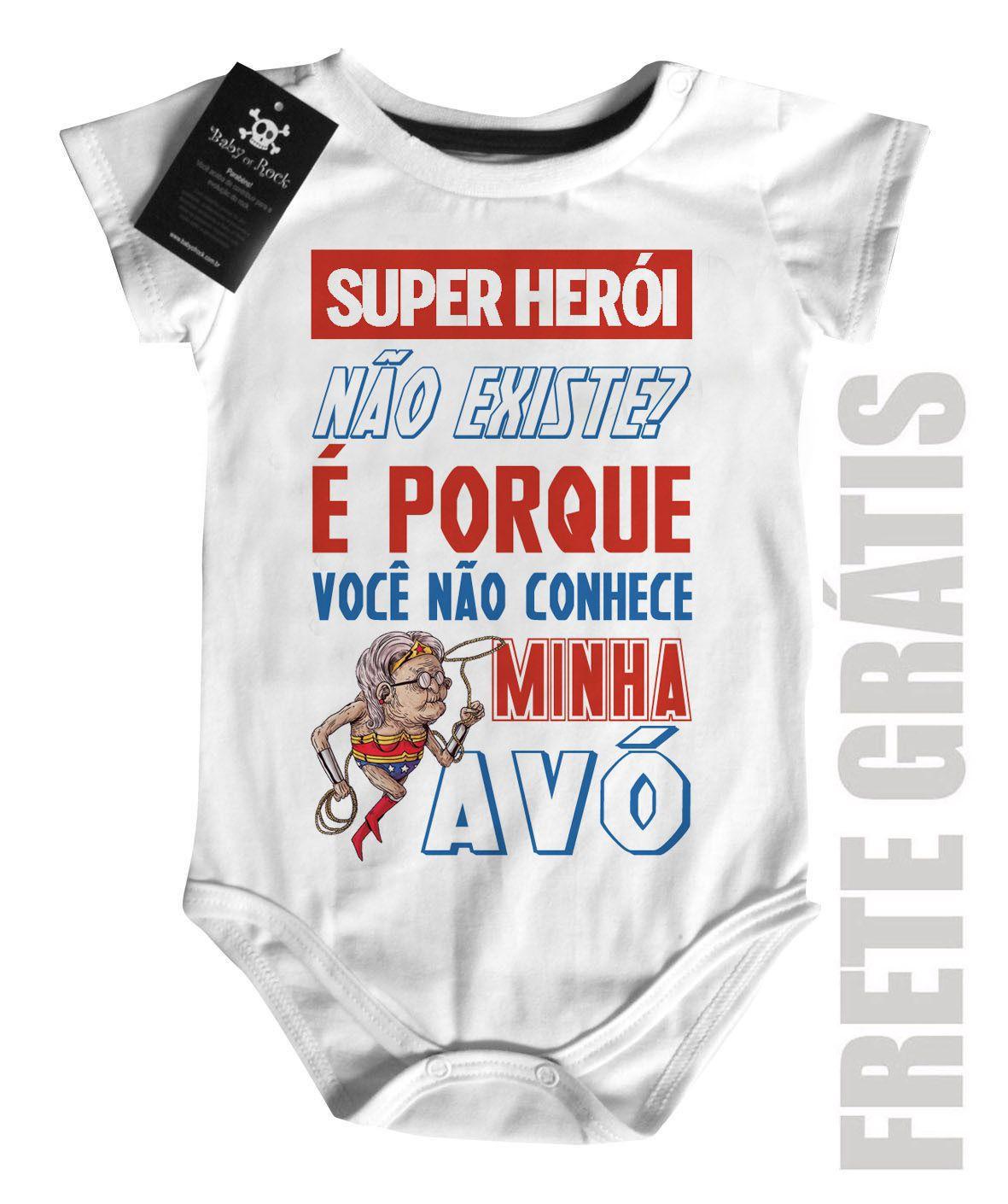 Body Baby Rock - Herói não existe? Vovó - White  - Baby Monster S/A