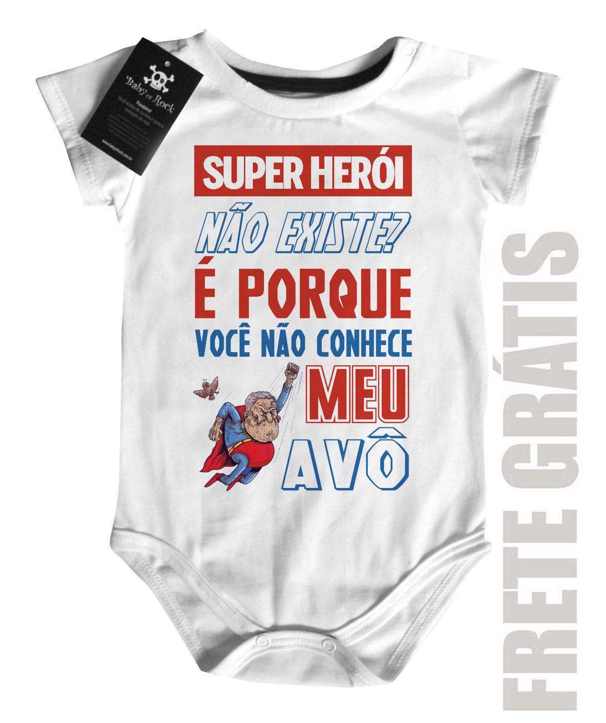 Body Baby Rock - Herói não existe? Vovô - White  - Baby Monster S/A