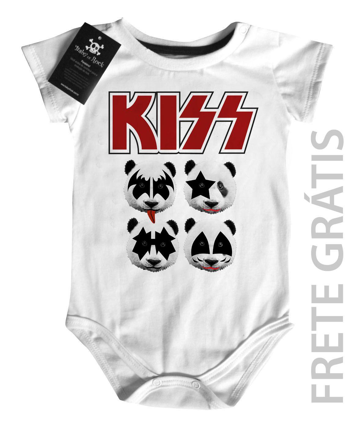 Body Baby Rock - Kiss - Panda - White  - Baby Monster S/A
