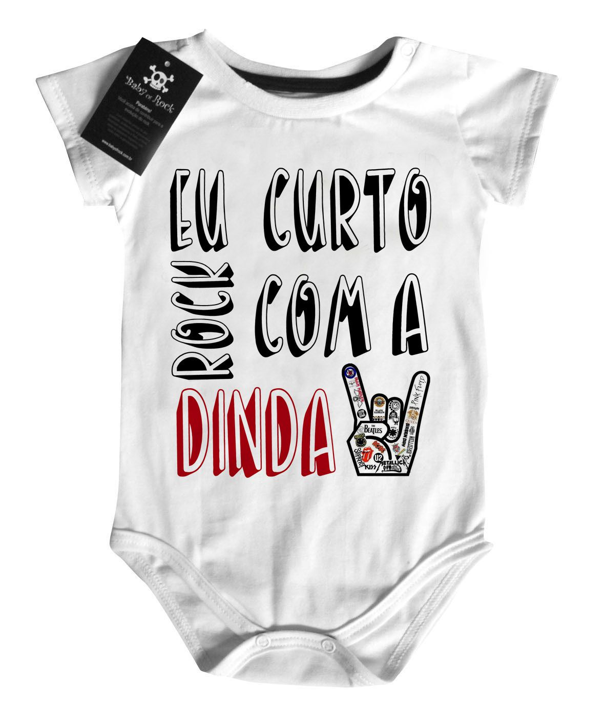 Body Baby Rock - Rock com a dinda - White  - Baby Monster - Body Bebe