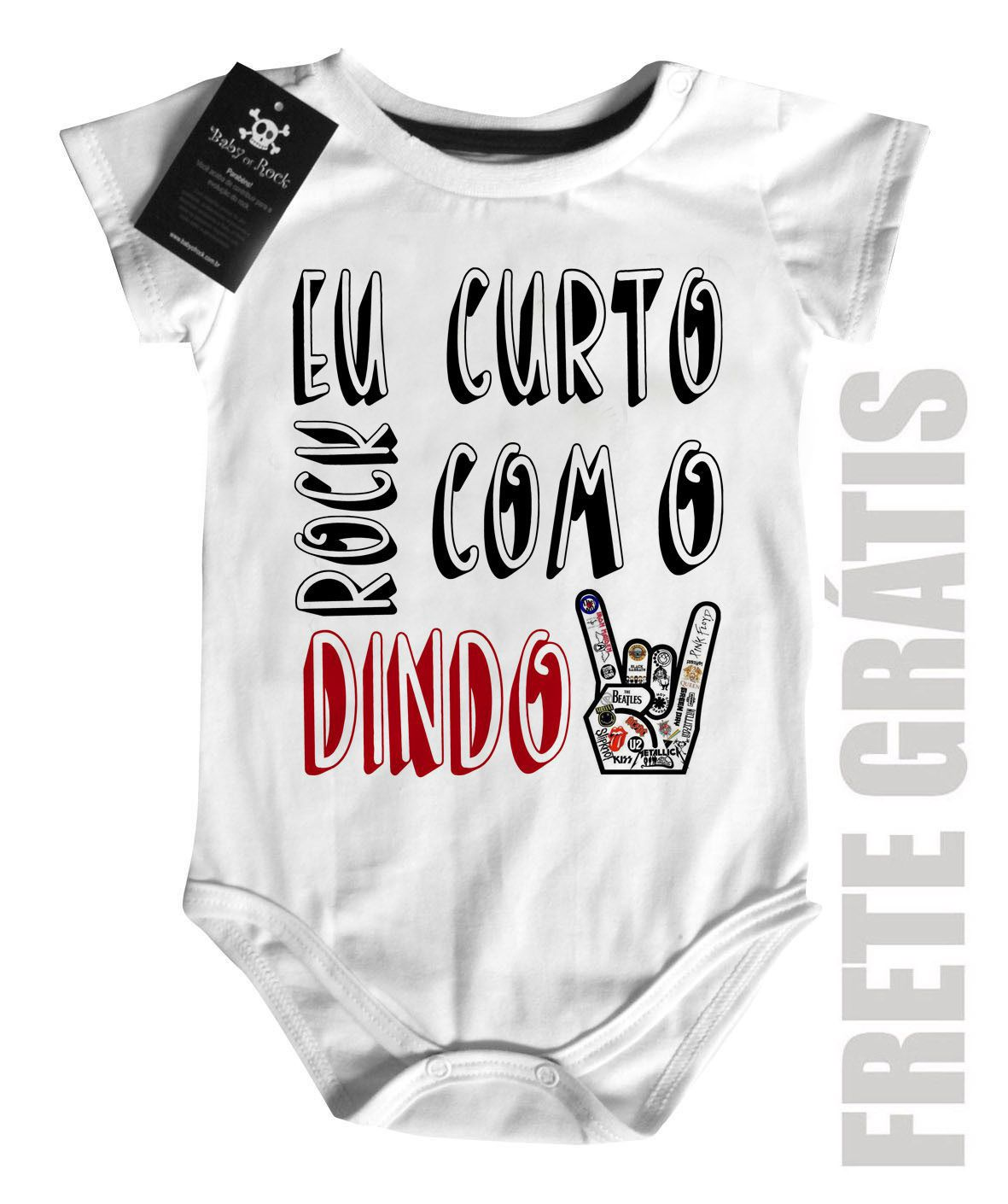 Body Baby Rock - Rock com o dindo- White  - Baby Monster - Body Bebe