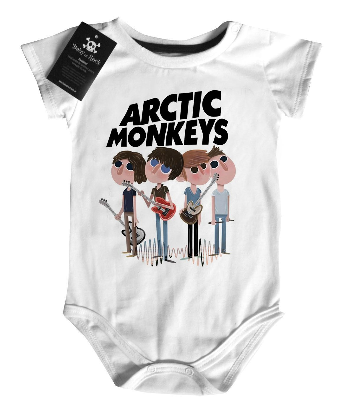 Body Bebe Baby  Rock -  Arctic Monkeys- White  - Baby Monster S/A