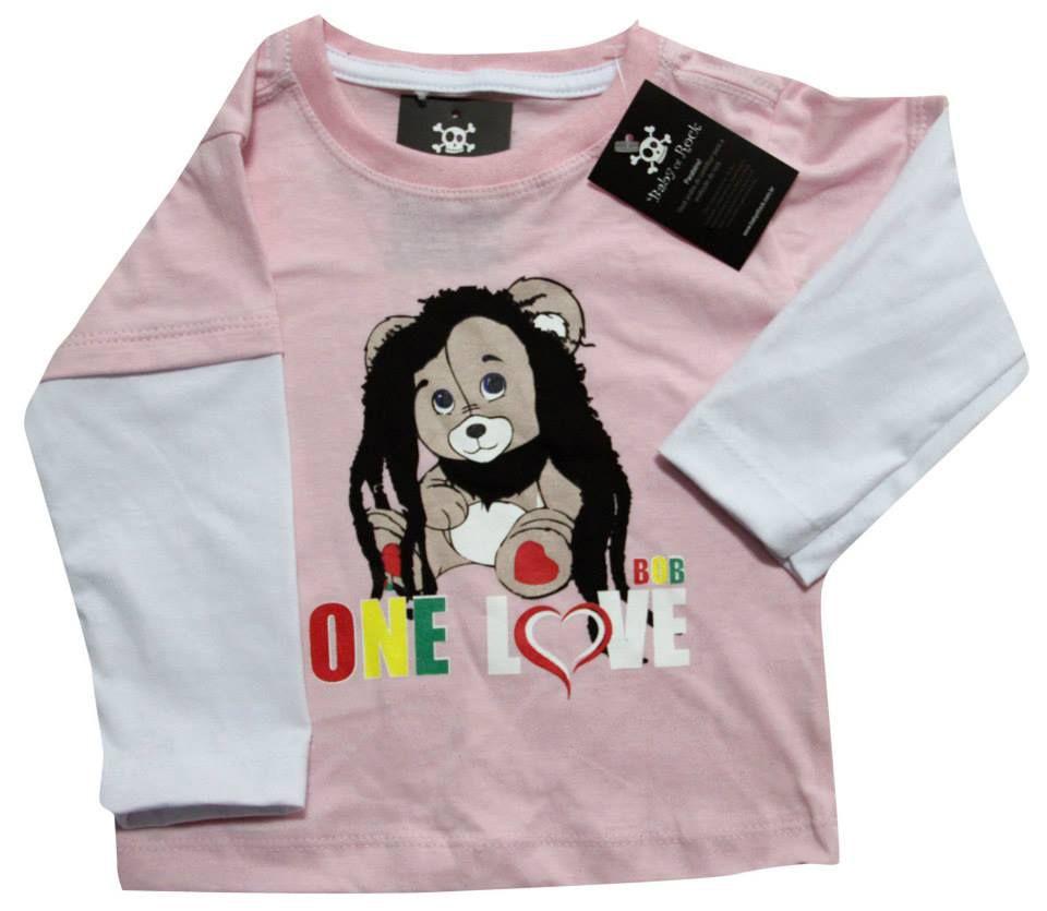Camiseta  Bob Marley - Rosa - Manga Longa  - Baby Monster - Body Bebe