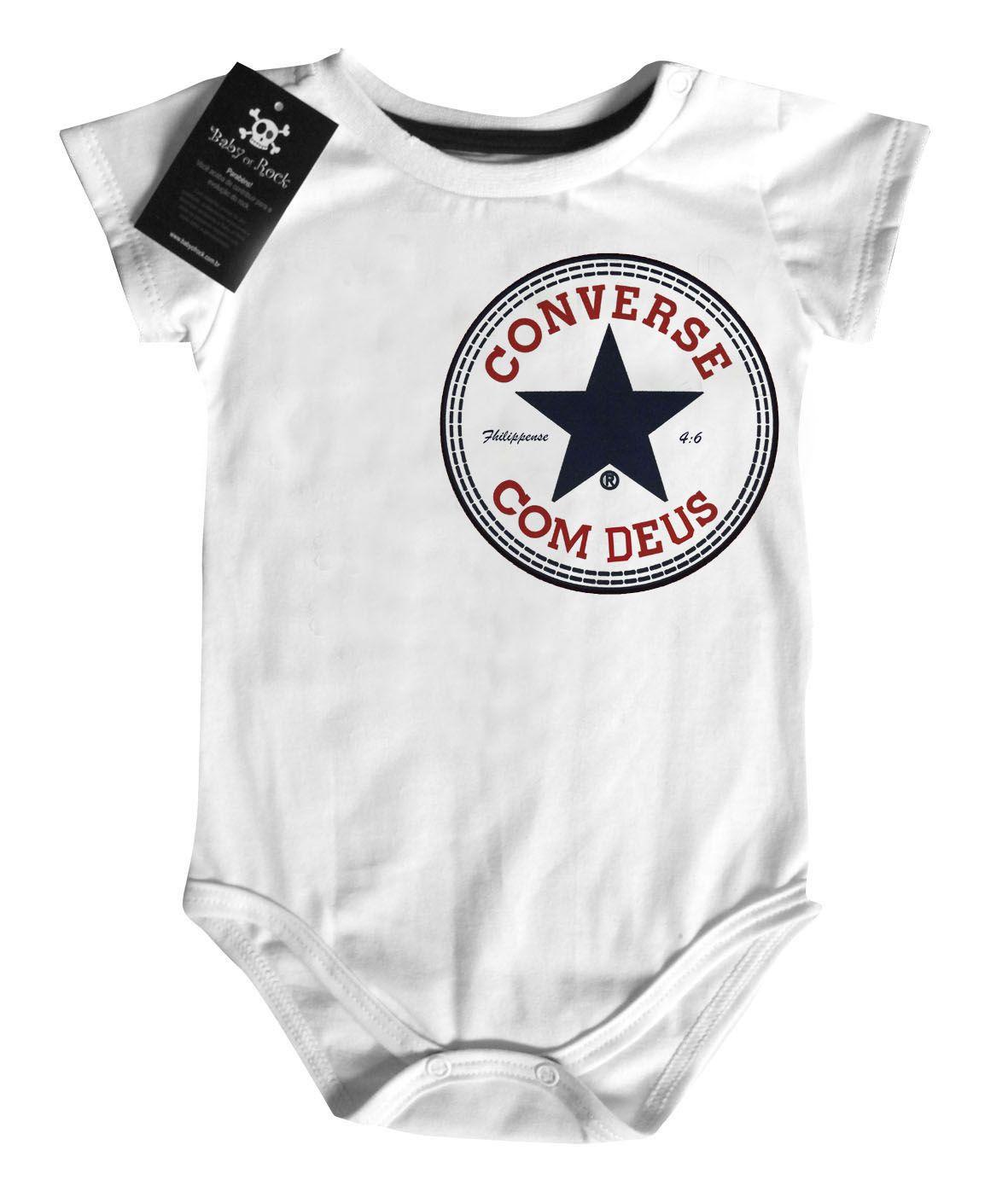 Body Bebe Cristão Converse com Deus - CHEST WHITE  - Baby Monster S/A