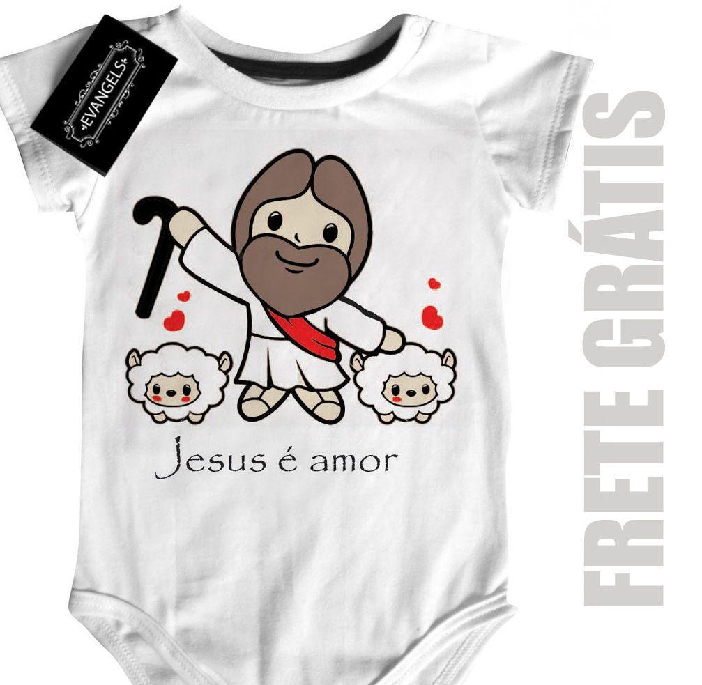 Body Bebe Cristão Jesus é amor  - White  - Baby Monster - Body Bebe