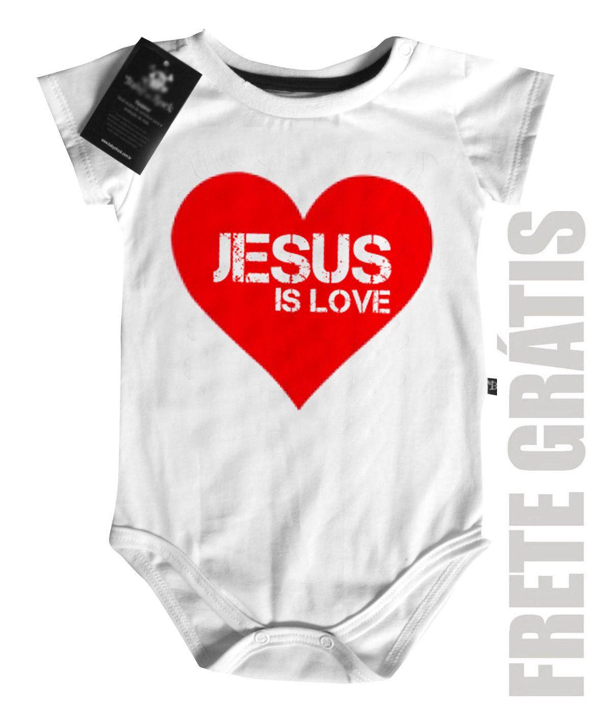 Body Bebe Cristão Jesus Heart  - White -  - Baby Monster S/A