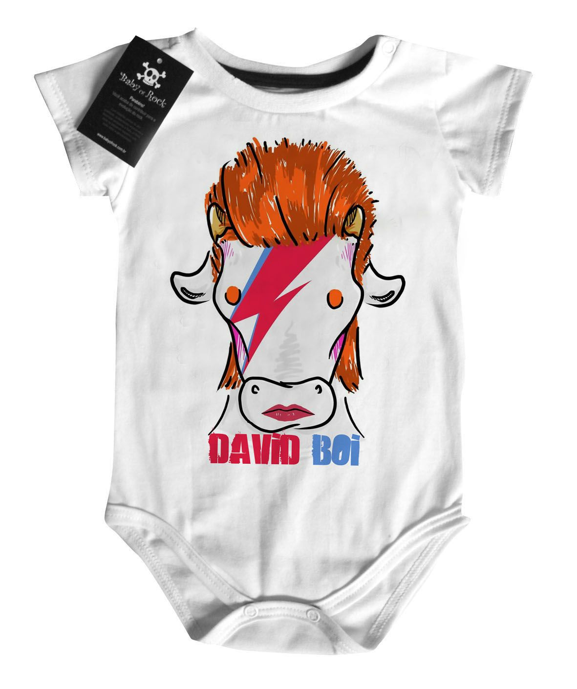 Body Bebê David BOI - Arte Bovina  Rock n Roll- White  - Baby Monster S/A