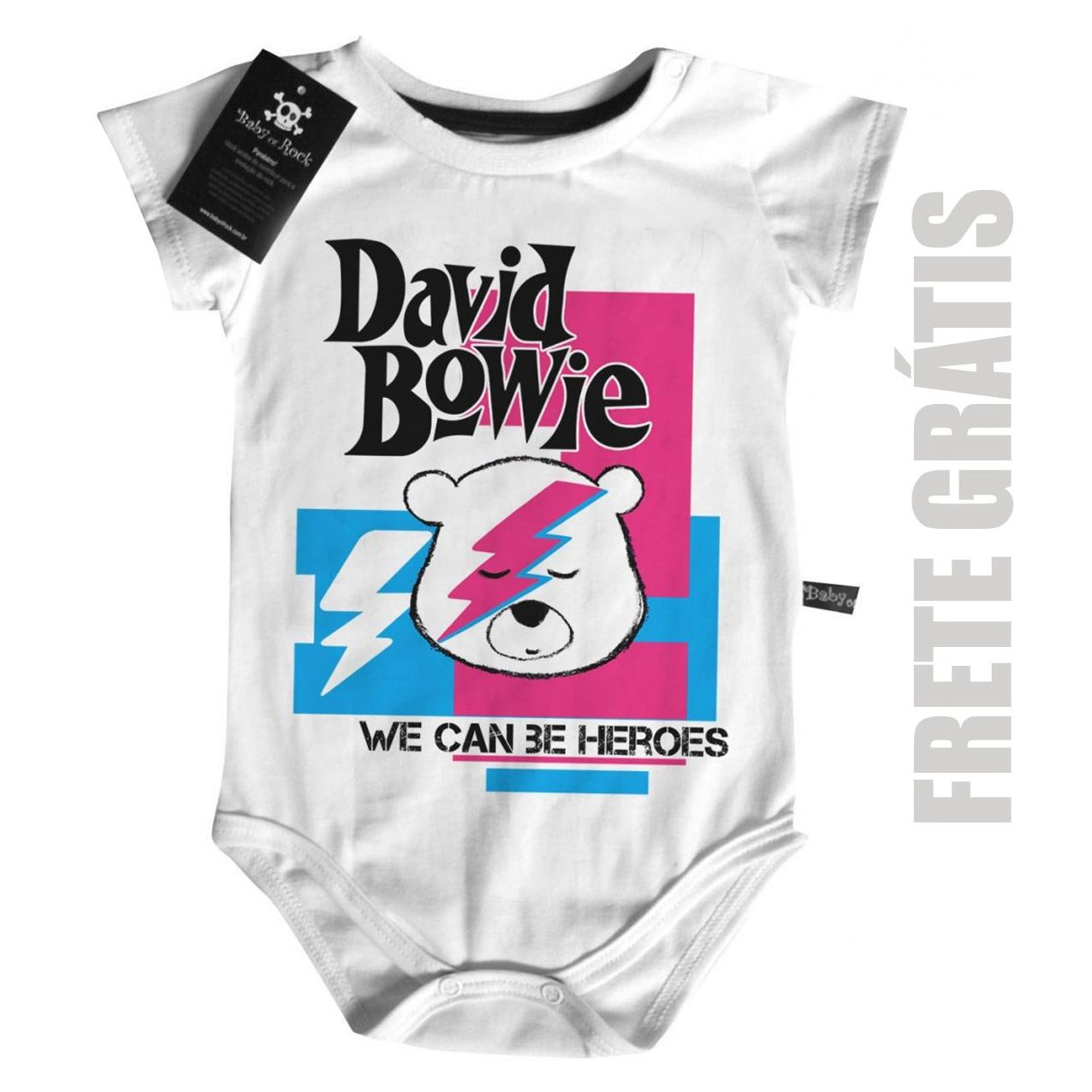 Body Bebê David Bowie- Rock n Roll- White  - Baby Monster - Body Bebe