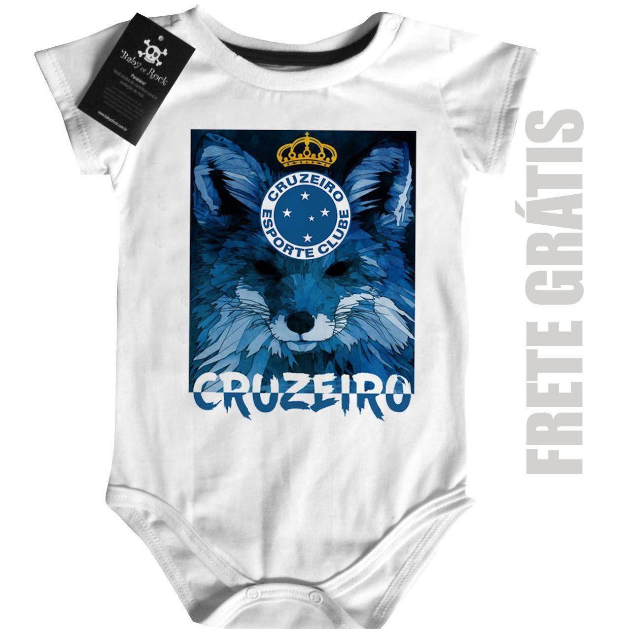 Body Bebe de Cruzeiro  Time-  Futebol - White  - Baby Monster - Body Bebe