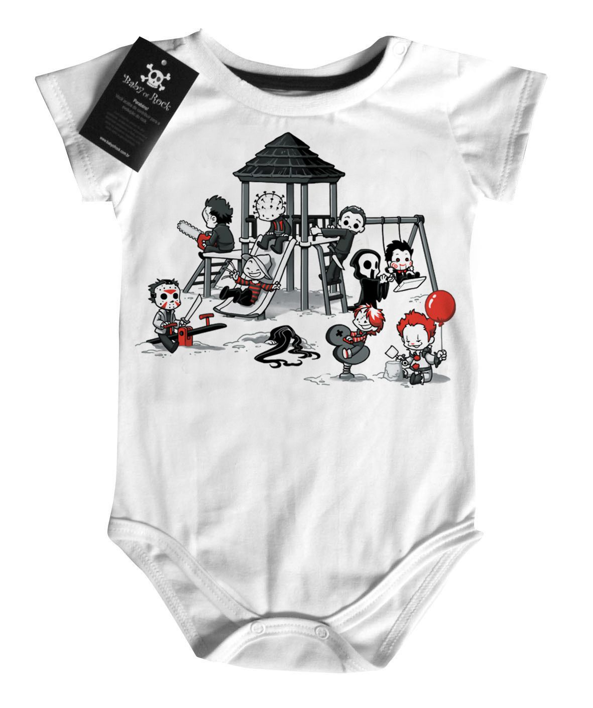 Body Bebe ou Camiseta Infantil Park Terror Cute - White  - Baby Monster S/A