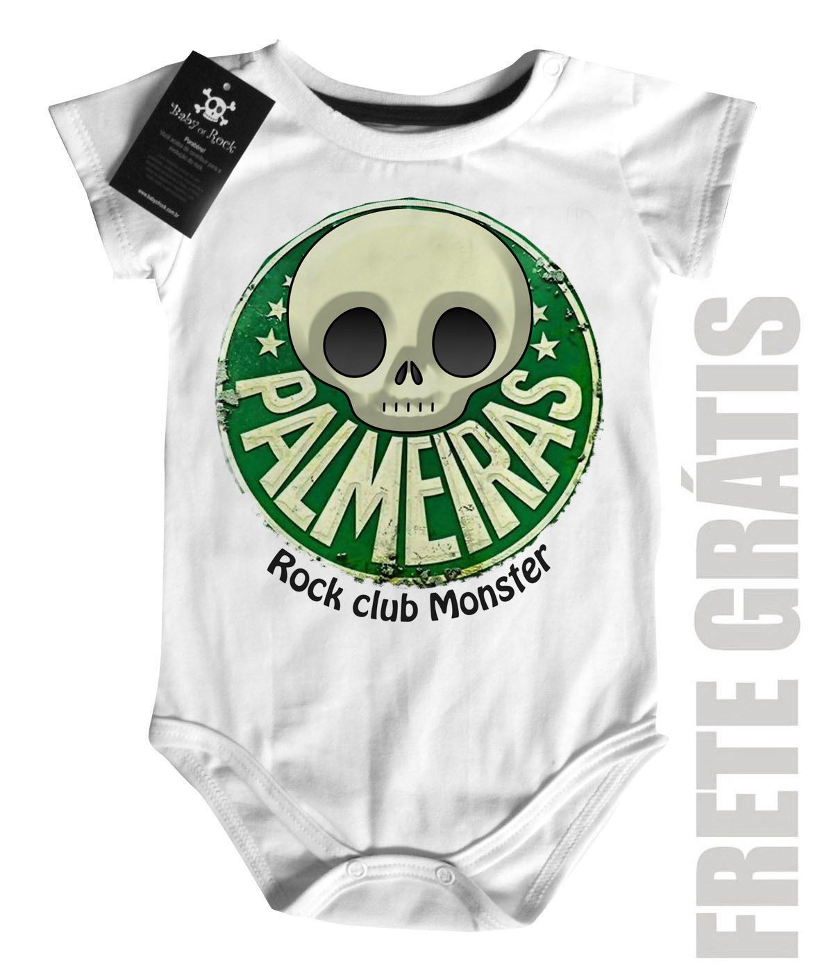 Body Bebe de FutRock Time  -  Palmeiras Rock club Monster - White  - Baby Monster S/A