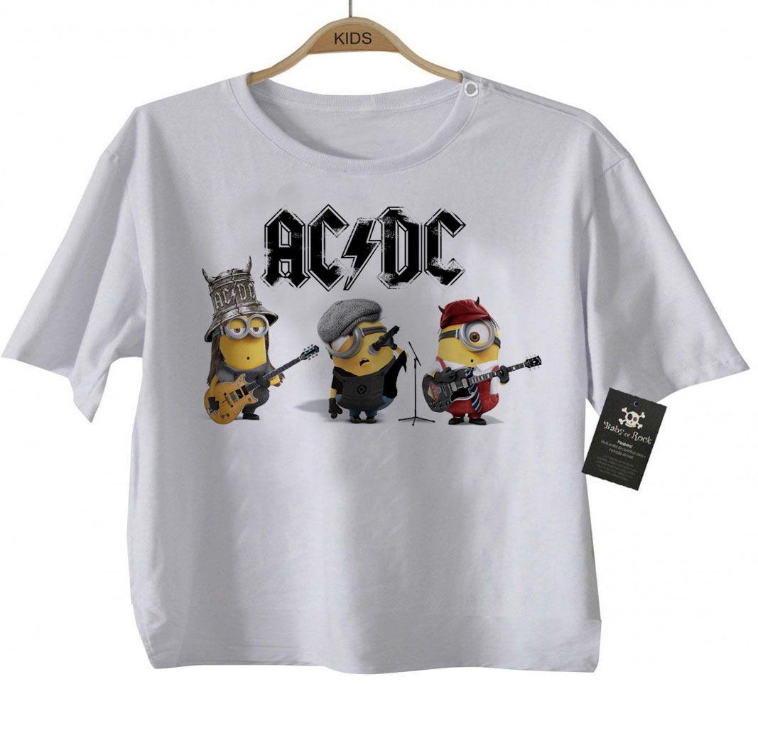 Body Bebe de  Rock ou Camiseta Infantil  Acdc Minions - White  - Baby Monster - Body Bebe