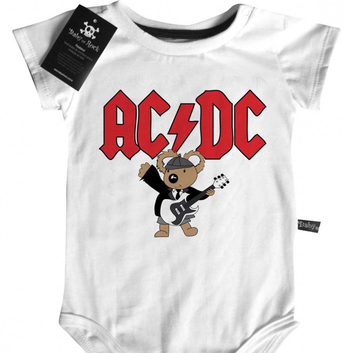 Body Bebê de Rock Bebê  ACDC Cute  - White  - Baby Monster S/A