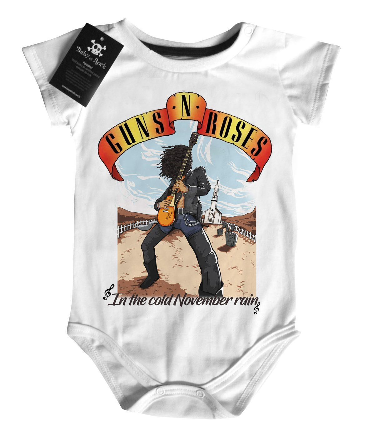 Body Bebe de Rock Guns n Roses November Rain - White  - Baby Monster - Body Bebe