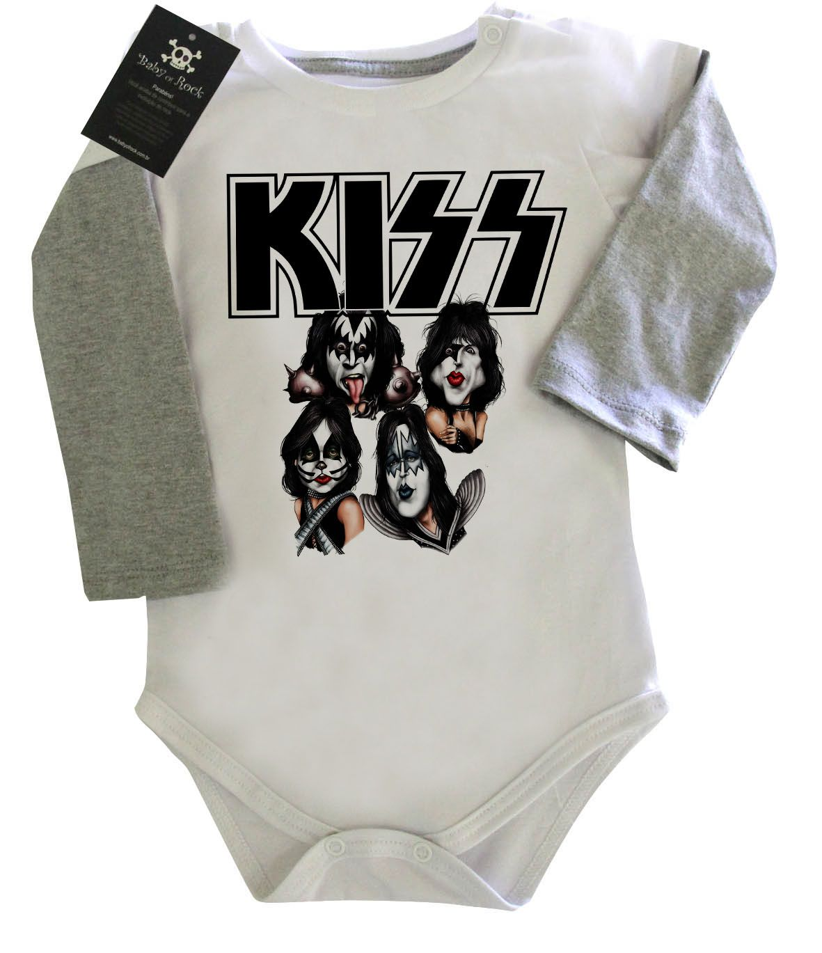 Body Bebe de Rock KISS - White - Manga Longa - BABY MONSTER - f139e1b782d