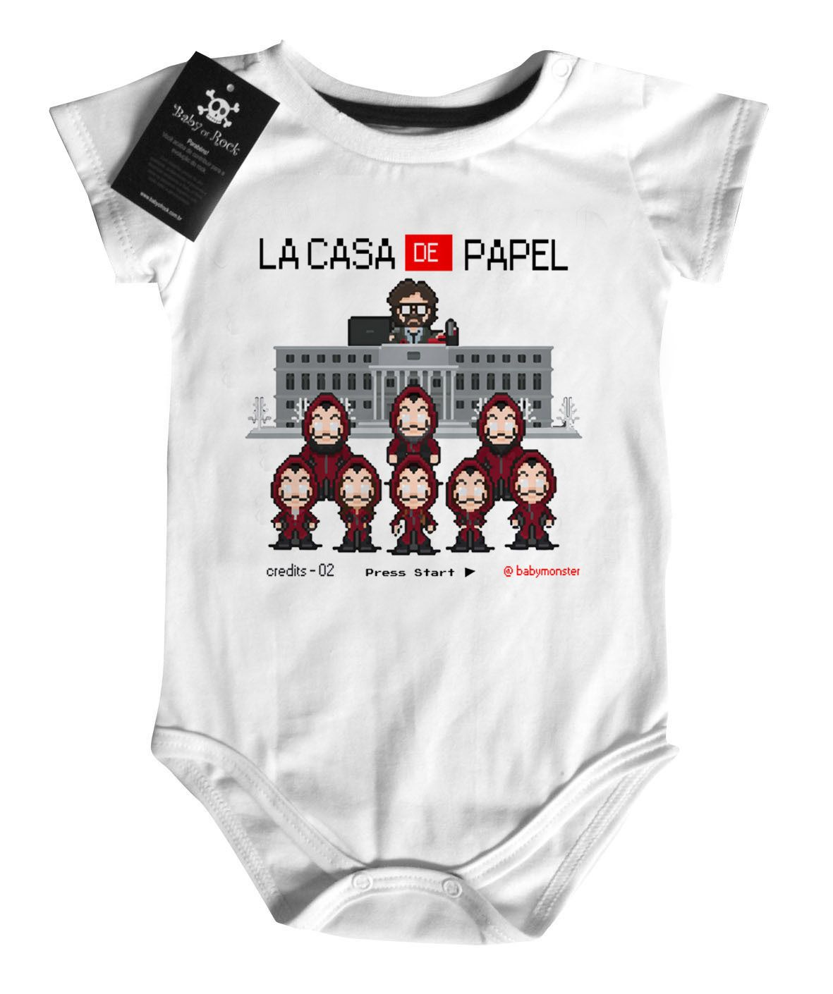 Body Bebe de Rock La casa de Papel Nerd / Geek - White  - Baby Monster S/A