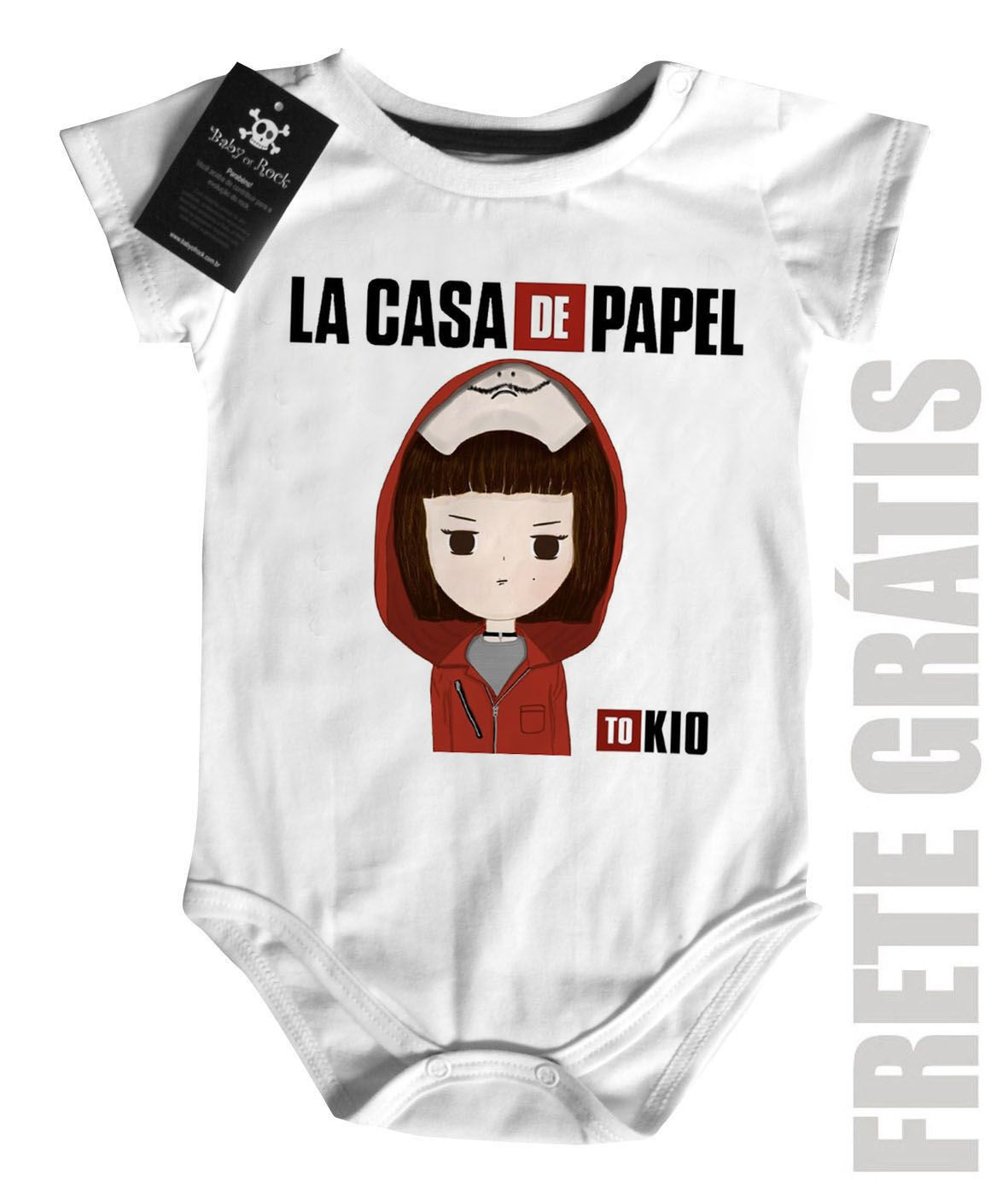 Body Bebe de Rock La casa de Papel Tokio - White  - Baby Monster - Body Bebe