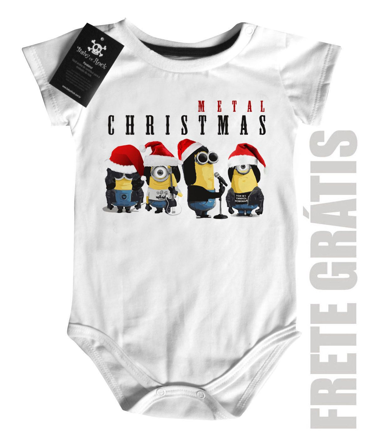 Body Bebe de  Rock Natal - Minions - White  - Baby Monster - Body Bebe