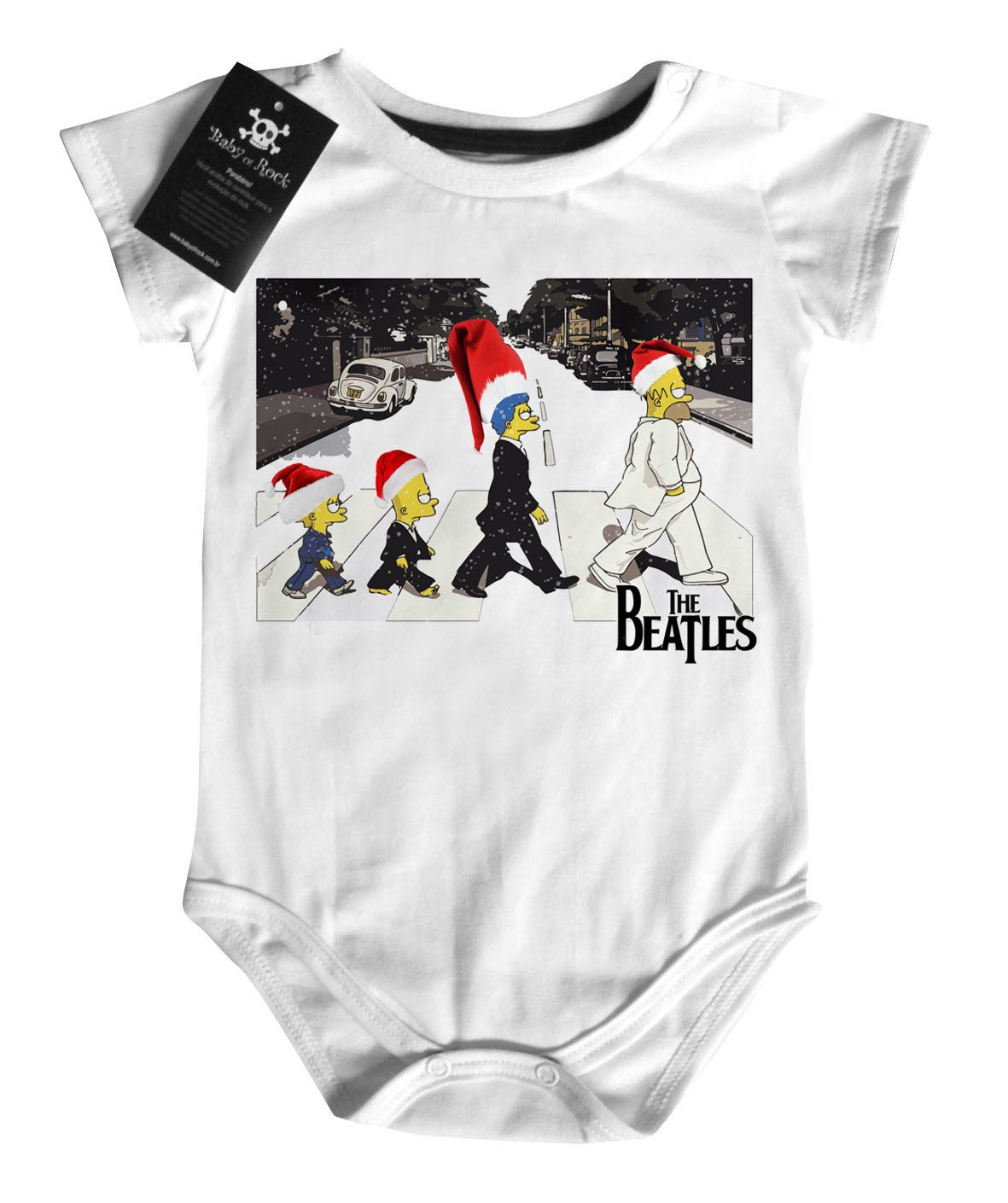 Body Bebe de  Rock Natal - The Beatles Simpsons - White - Baby Monster S/A