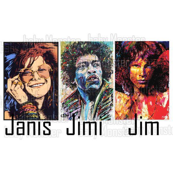 Body Bebe de  Rock ou Camiseta  Janis Joplin, Jimi Hendrix, Jim Morrison - White  - Baby Monster S/A