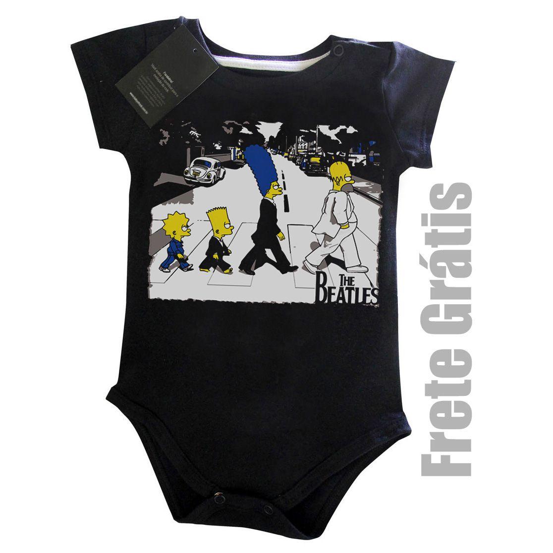 Body Bebe de Rock - The Beatles Simpsons  - Black  - Baby Monster S/A