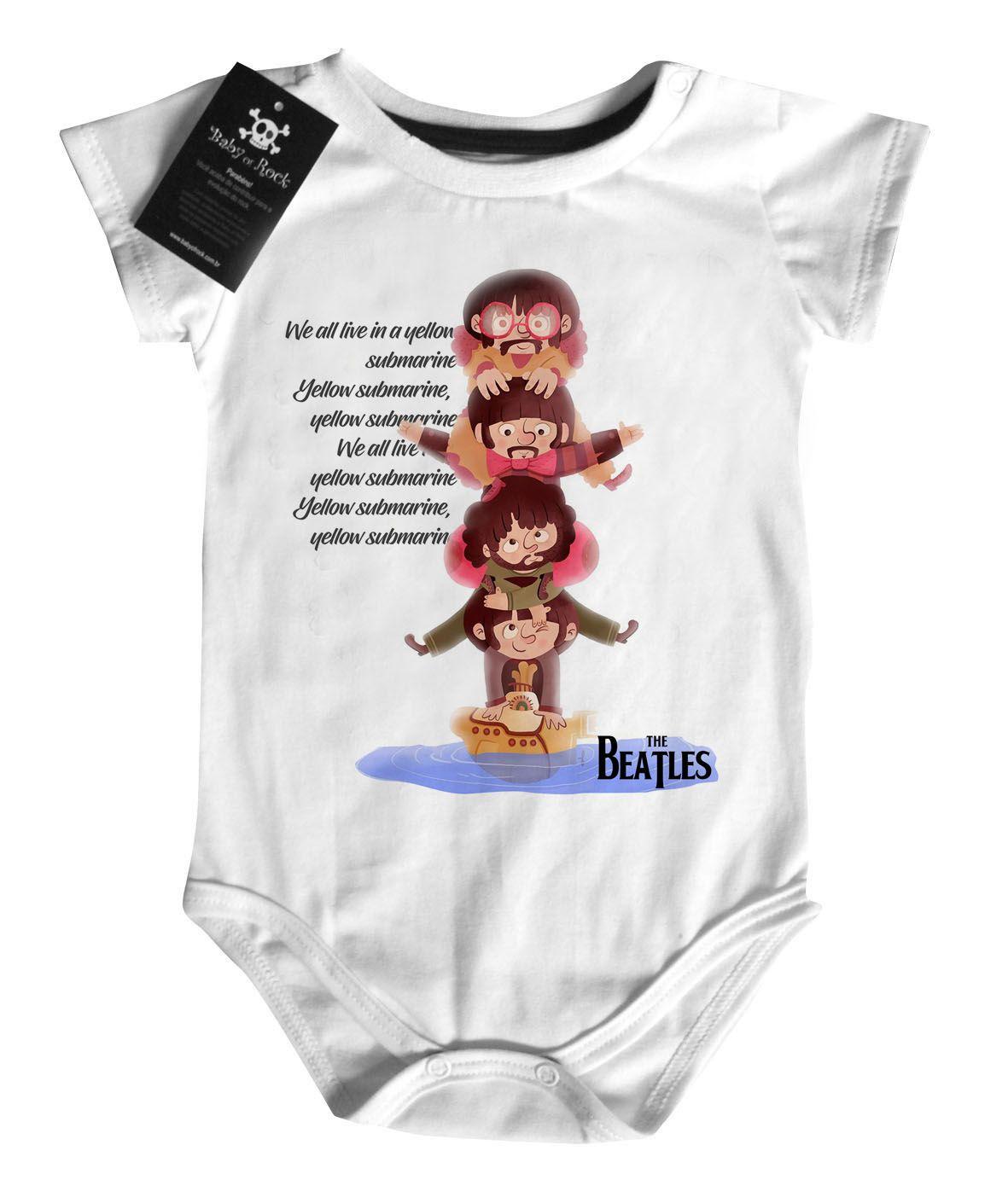 Body Bebe de Rock Beatles - Yellow Subbmarine - White  - Baby Monster - Body Bebe
