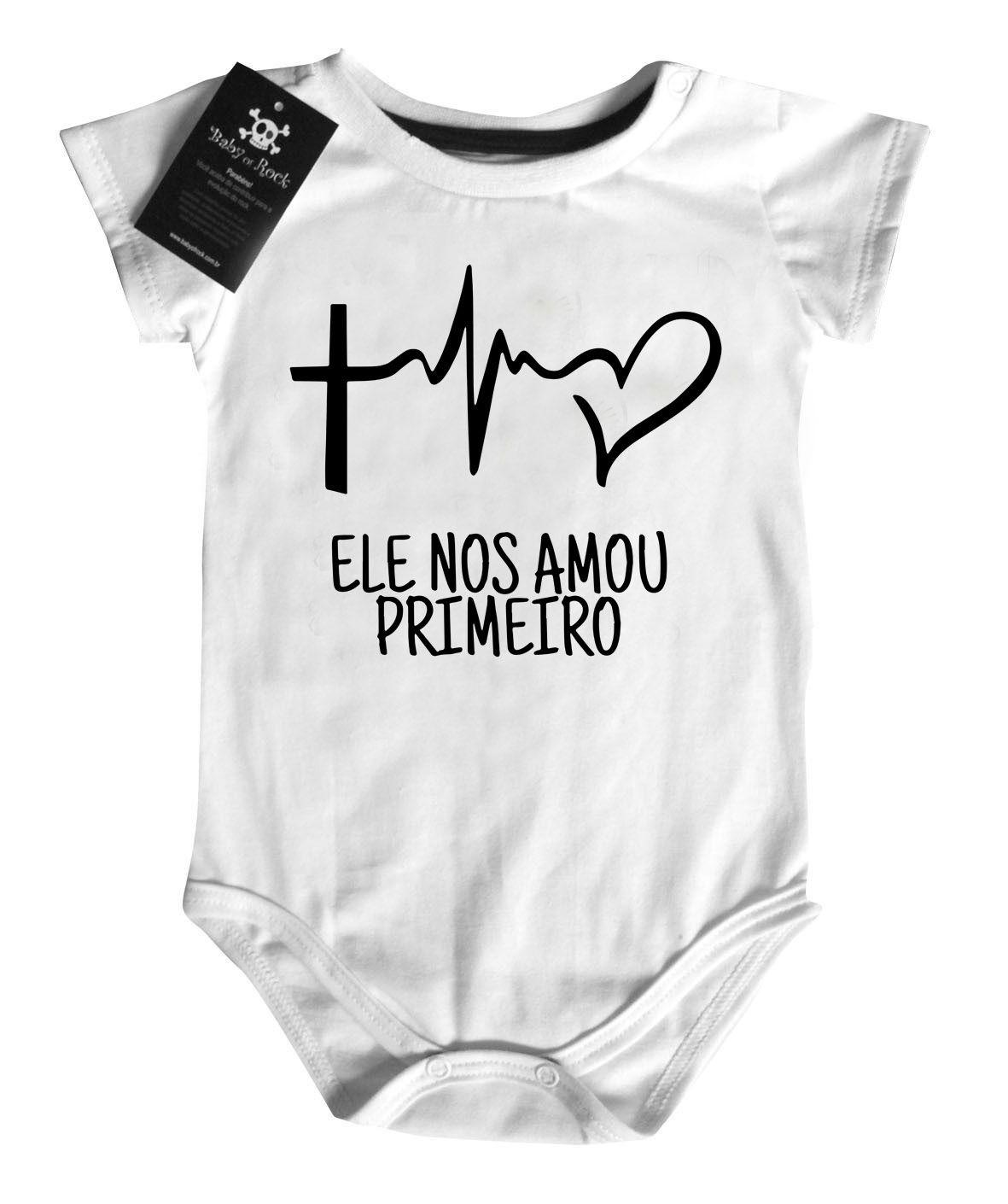 Body bebê Ele Nos Amou Primeiro - white  - Baby Monster - Body Bebe
