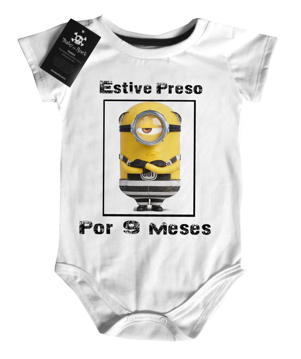 Body Bebê Estive preso 9 Meses- White  - Baby Monster S/A