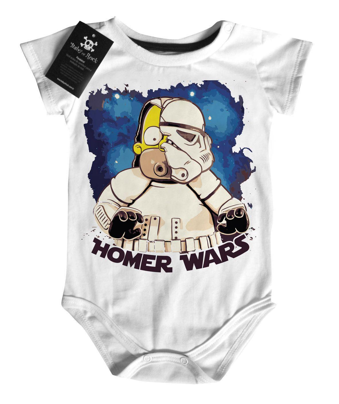 Body Bebe Filmes Homer Star Wars - White - Nerd/Geek  - Baby Monster - Body Bebe