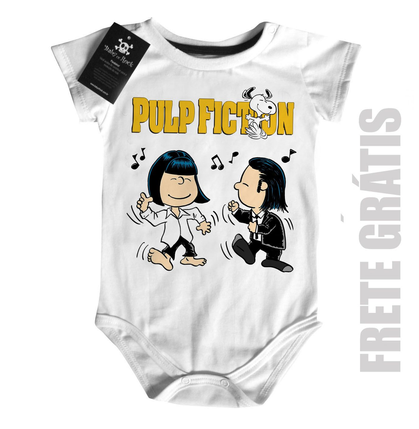 Body Bebê filmes Pulp Fiction - Snoopy  (Tarantino) - White  - Baby Monster S/A
