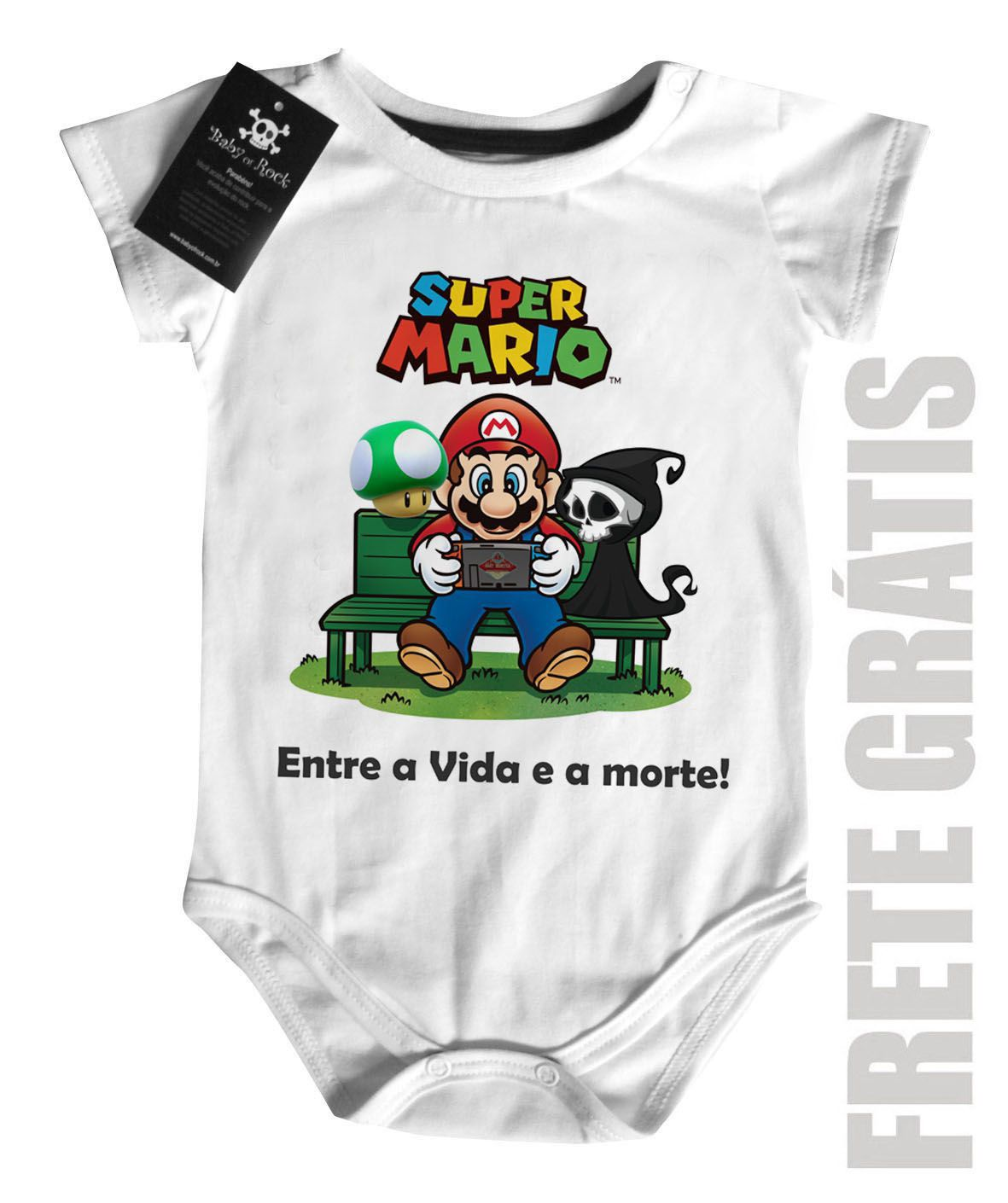 Body Bebe Game Mario entre a vida e a morte - White - Baby Monster S/A