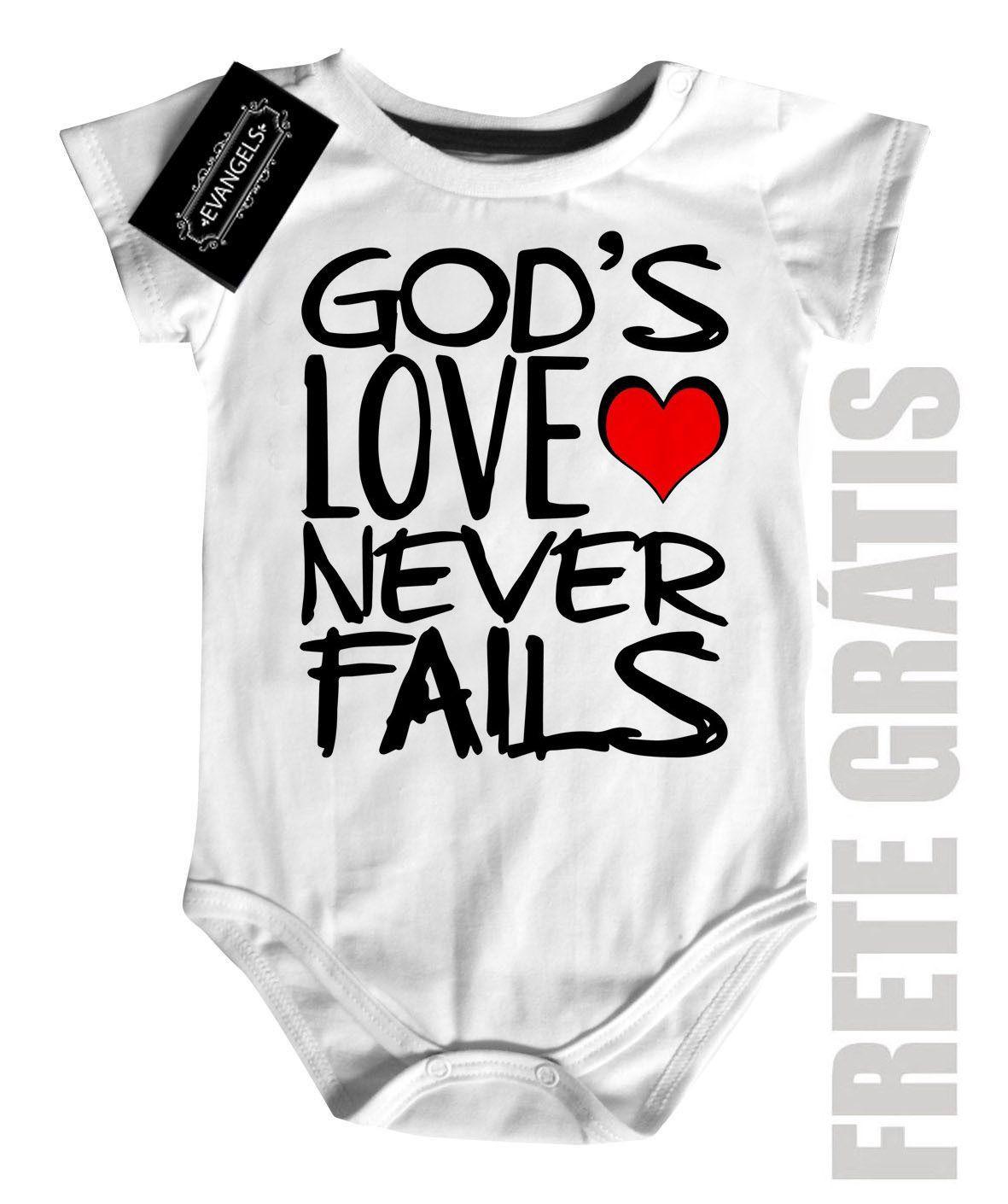 Body Bebe Gospel Deus nunca Falha - white  - Baby Monster S/A