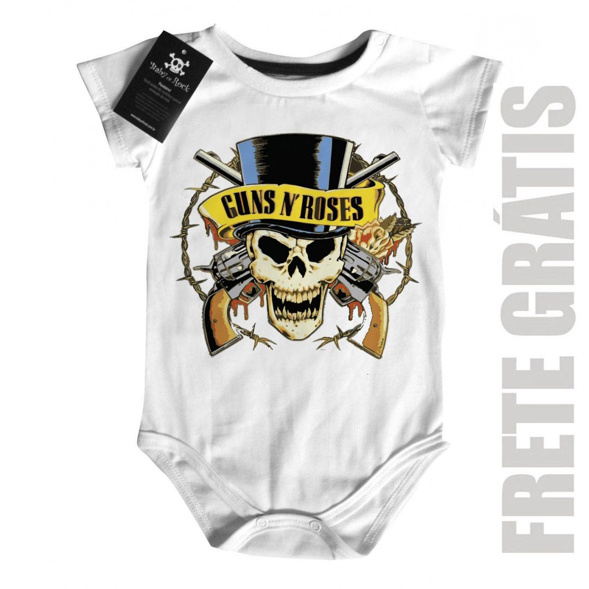 Body Bebê Guns N Roses Manga Curta - White  - Baby Monster S/A