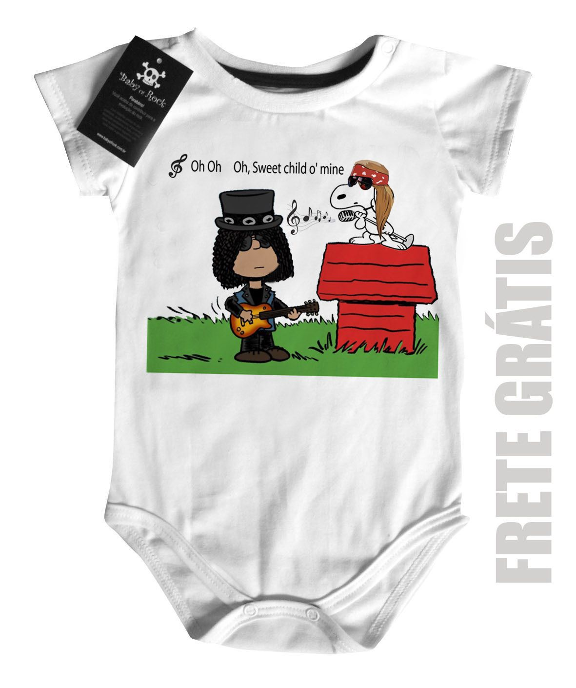 Body Bebê Guns N Roses Snoopy - White  - Baby Monster S/A