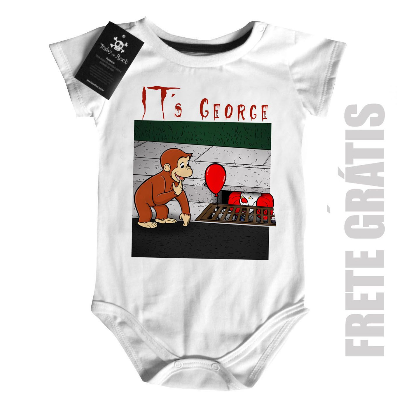 Body Bebê It a Coisa e o George Curioso - White  - Baby Monster S/A
