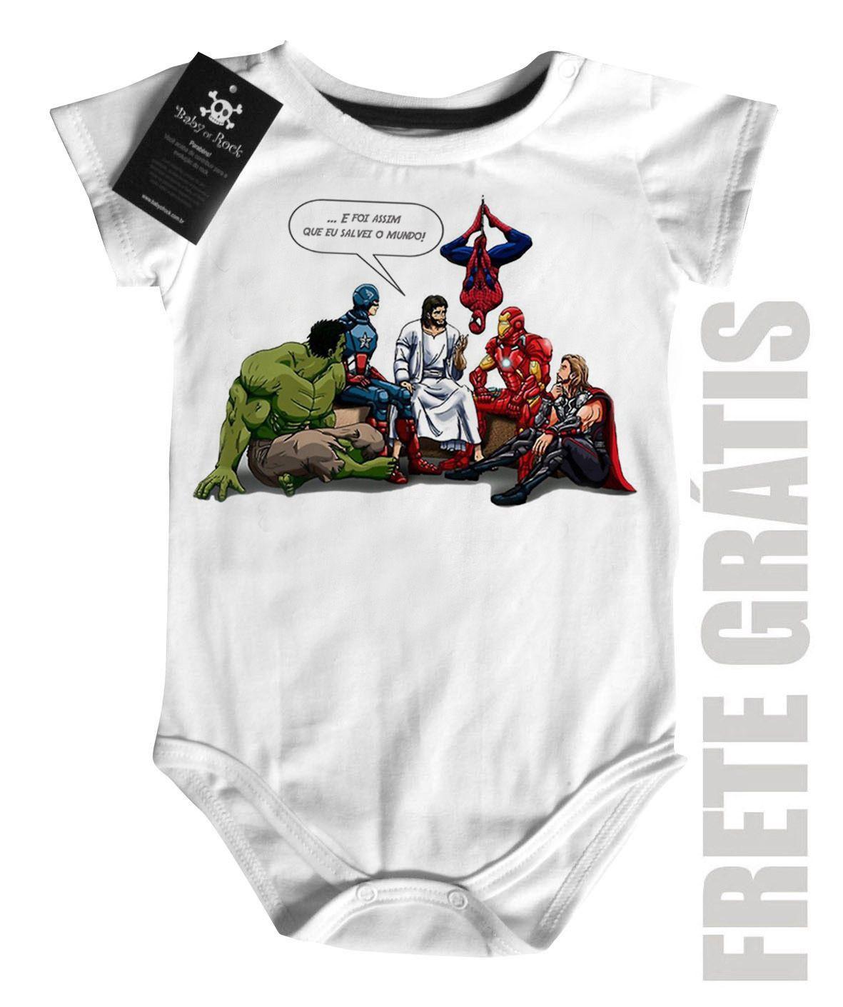 Body Bebe Jesus e os Vingadores  - White  - Baby Monster S/A