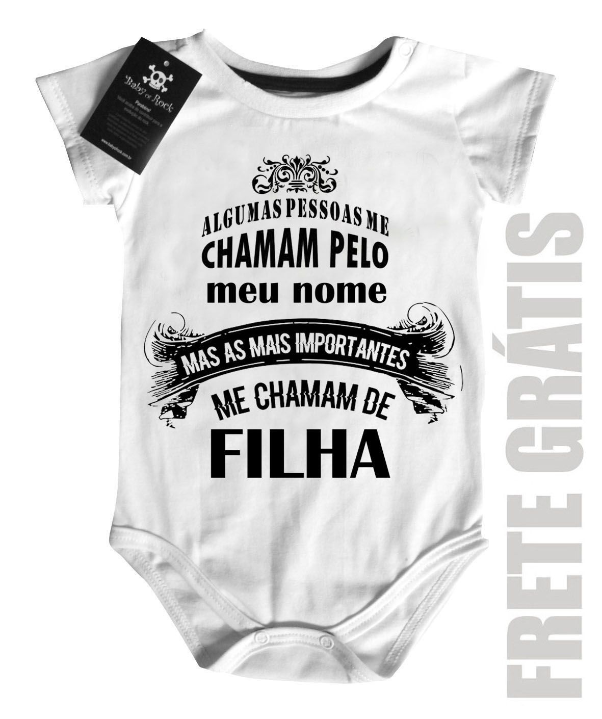 Body Bebe  Me chamam de Filha - white  - Baby Monster S/A