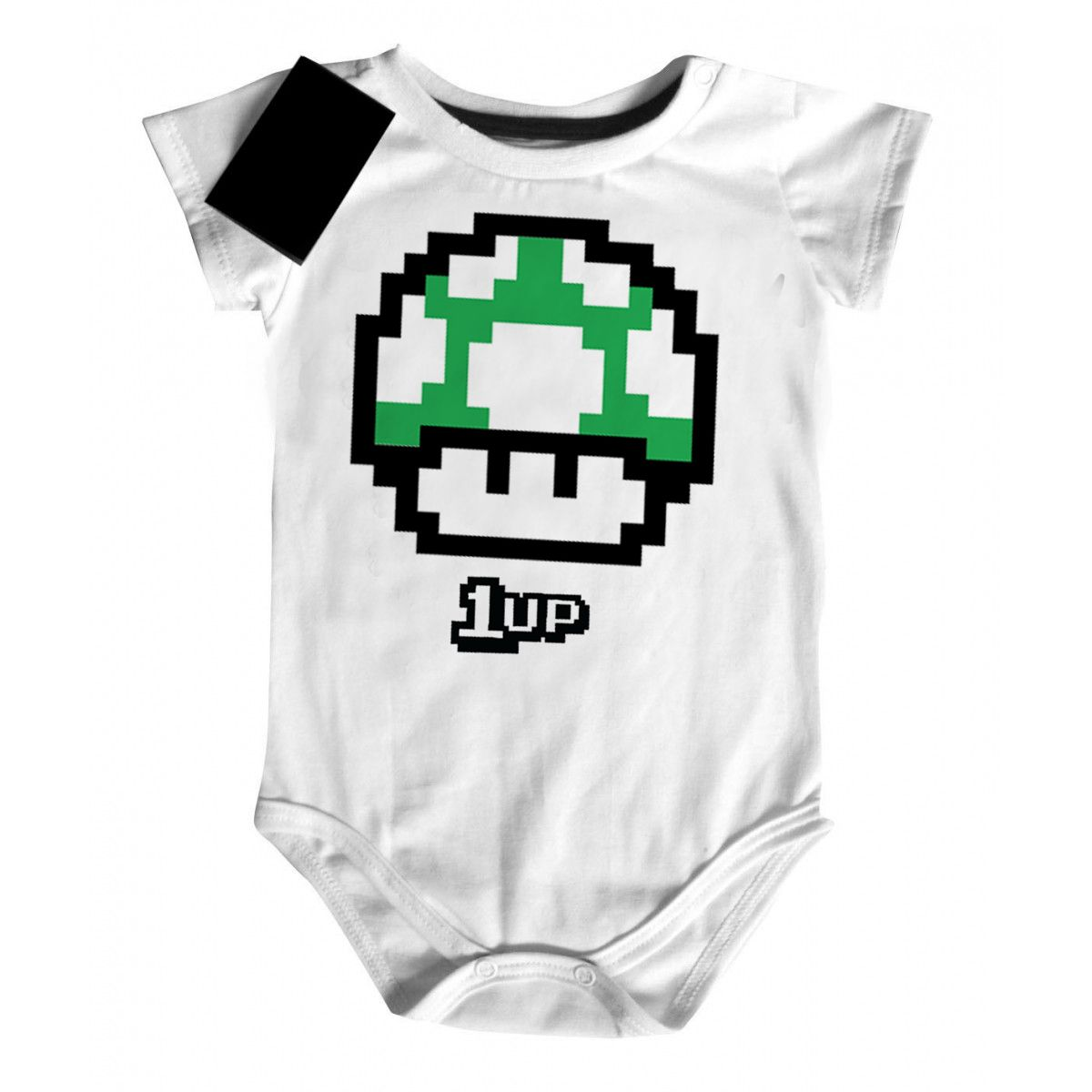 Body Bebe Nerd Geek -  Mario 1 Vida - White  - Baby Monster - Body Bebe