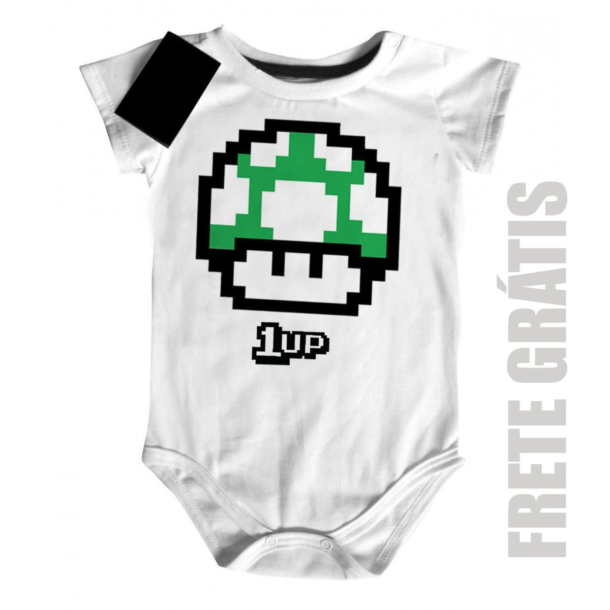 Body Bebe Nerd Geek -  Mario 1 Vida - White  - Baby Monster S/A